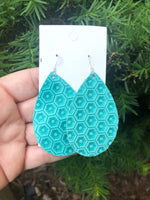 Aqua Pentagon Embossed Teardrop