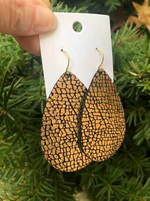 Gold Crackle Leather Teardrop Earrings