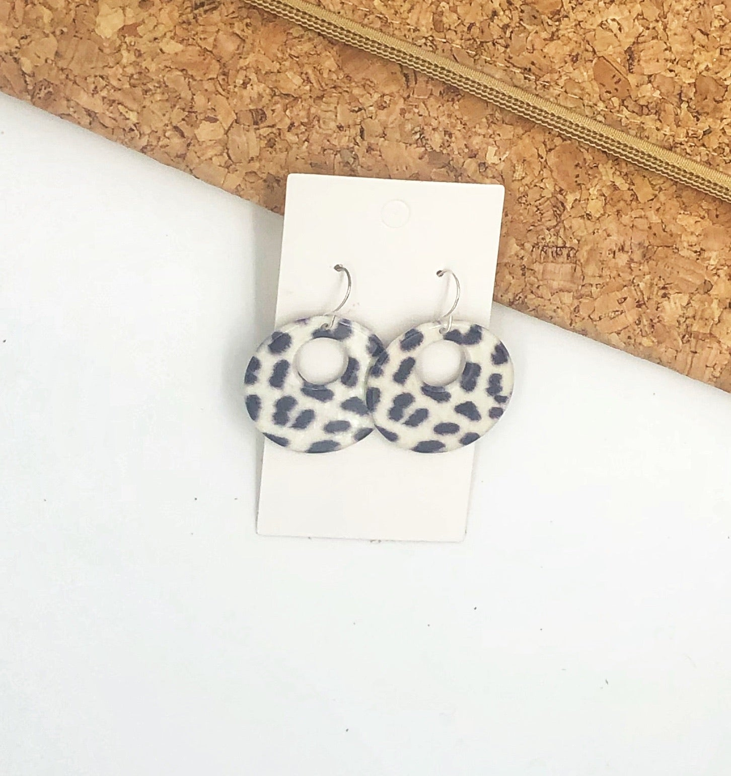 White Spotted Acrylic Circle Cutout- Hook or Post