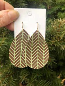 Brown and Green Herringbone Faux Leather Teardrop Earrings
