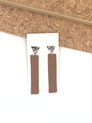 Brown Stick Leather and Acrylic Earrings