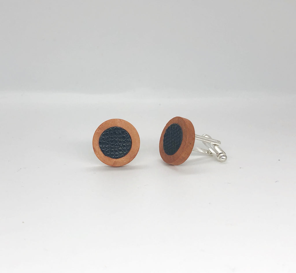 Black Leather and Wood Cufflinks