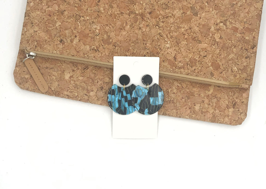 Blue and Black Crescent Acrylic Earrings