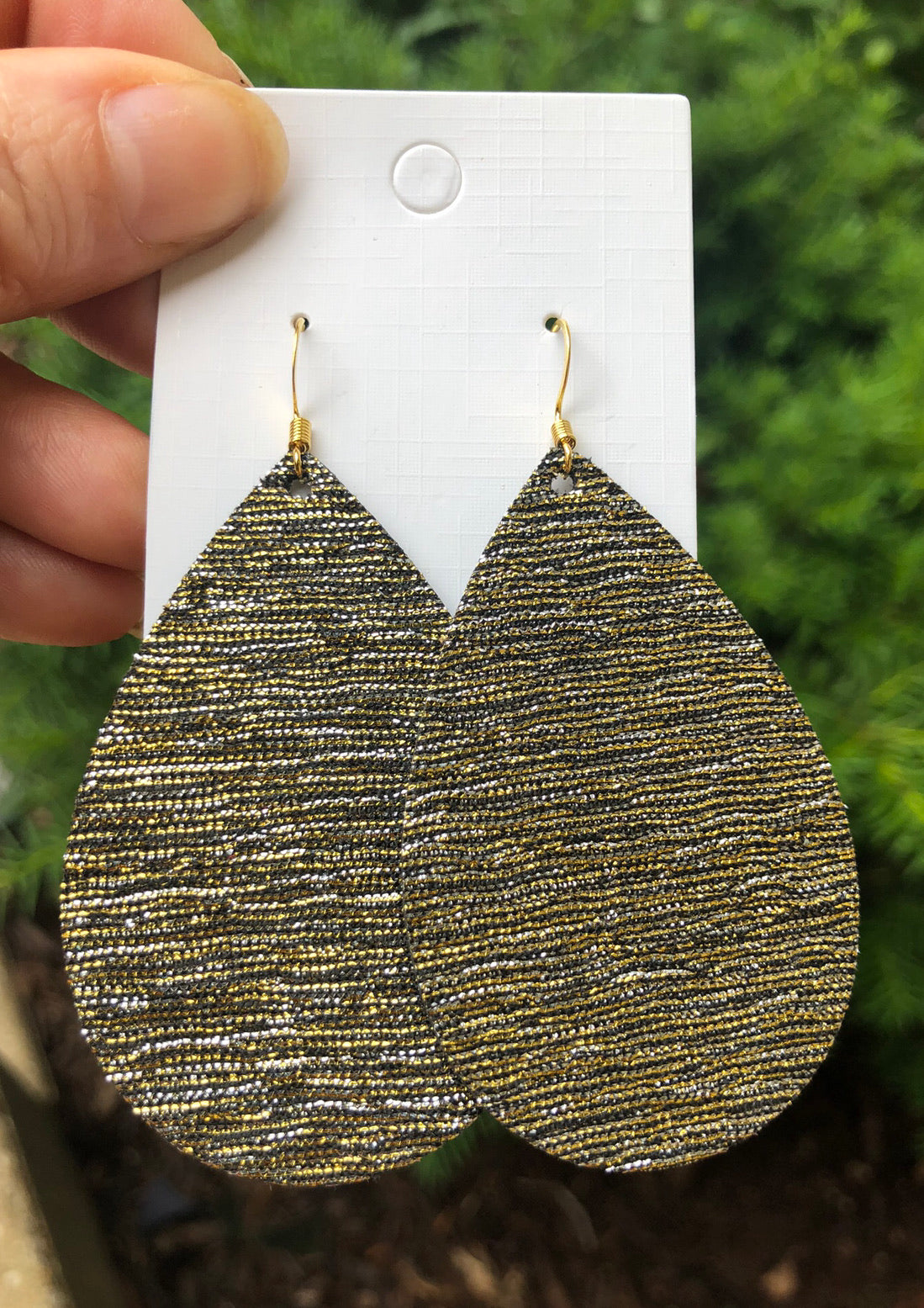Gold and Silver Shimmer Teardrop