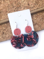 Living Coral and Blue Crescent Leather and Acrylic Earrings