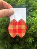 Red Buffalo Plaid Cork Bonded to Leather Marquis