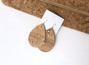 Gold Corkleather Bonded with Leather Teardrop