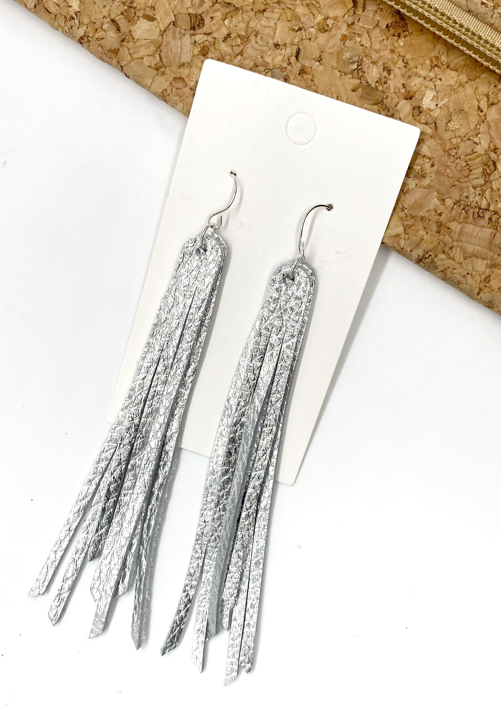Silver Long Fringe Leather Earrings