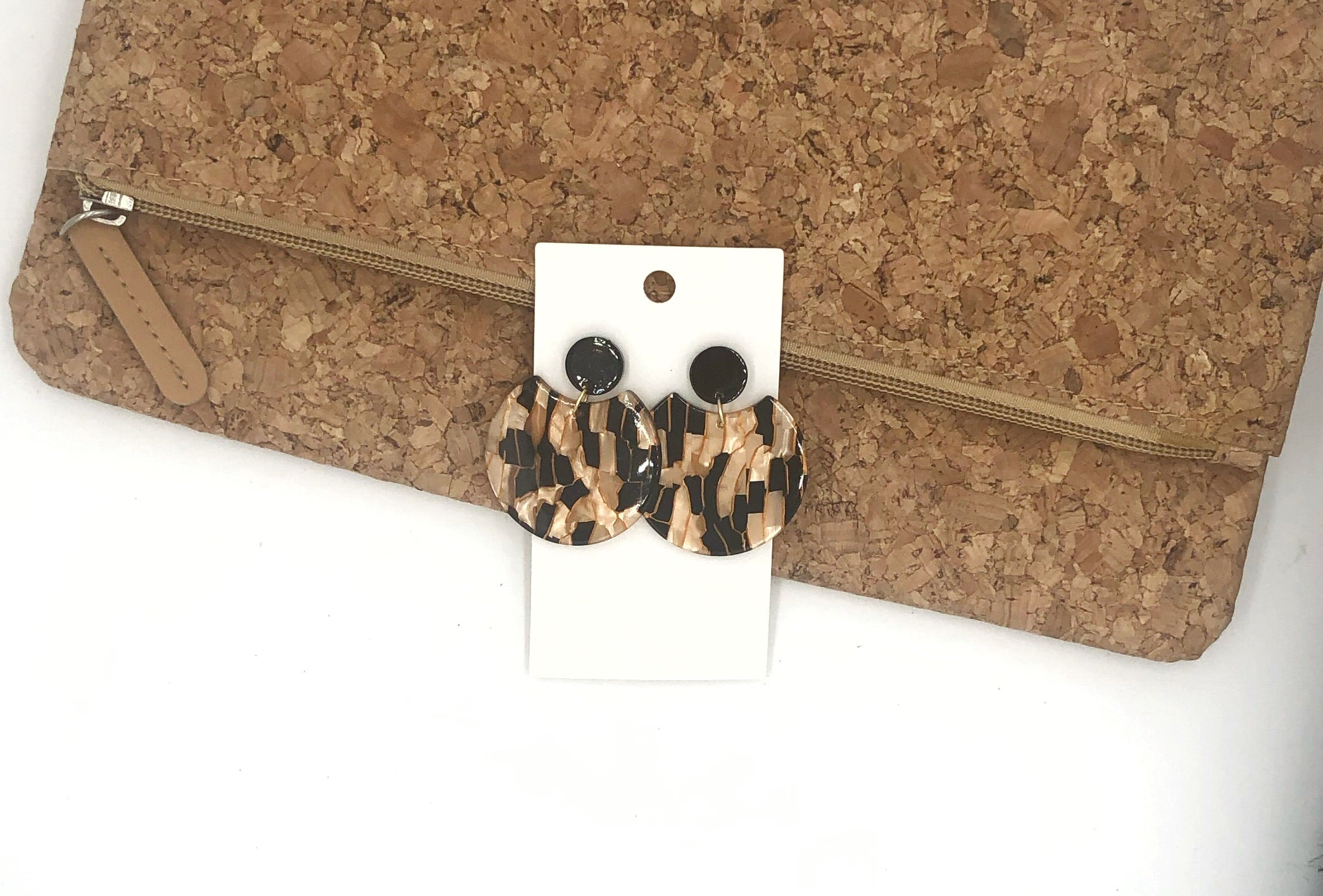 Black and Gold Crescent Acrylic Earrings