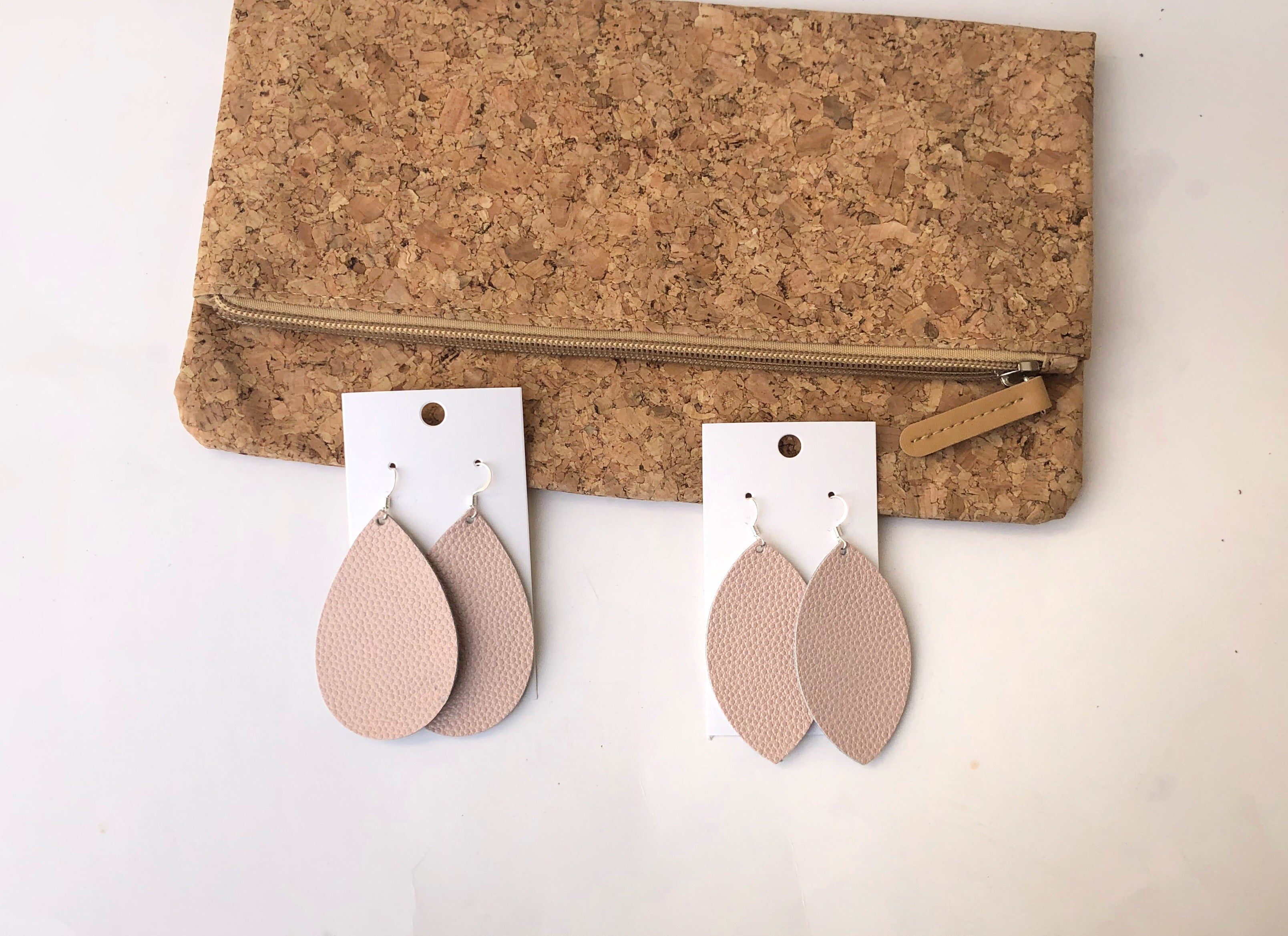 Pinky Nude Leather Marquis Earrings