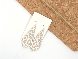 The Em Snow Leopard Leather Earrings