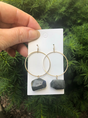 Grey Stone Hoop Earrings