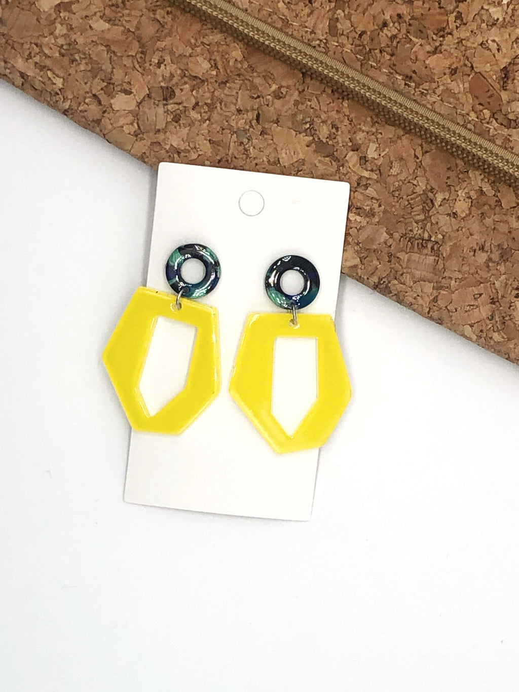 Yellow Abstract Acrylic Earrings