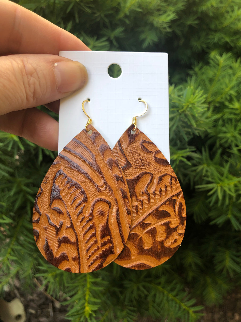 Honey Brown Western Floral Teardrop Leather Earrings