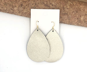 Champagne Saffiano Teardrop Earrings