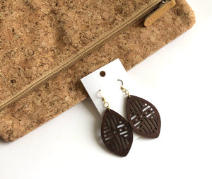 Dark Brown Wood Marquis Earrings