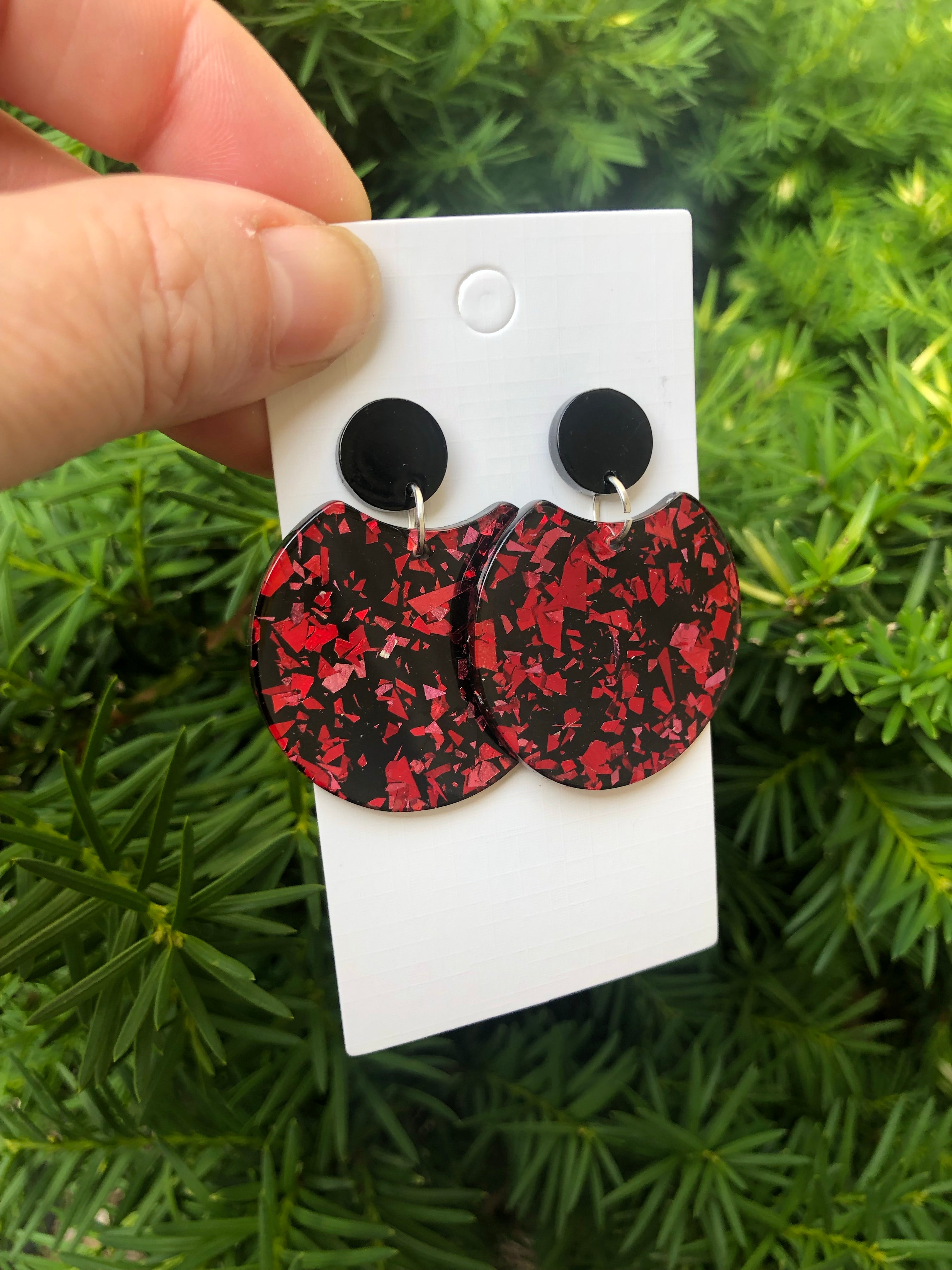 Red Glitter Crescent Acrylic Earrings