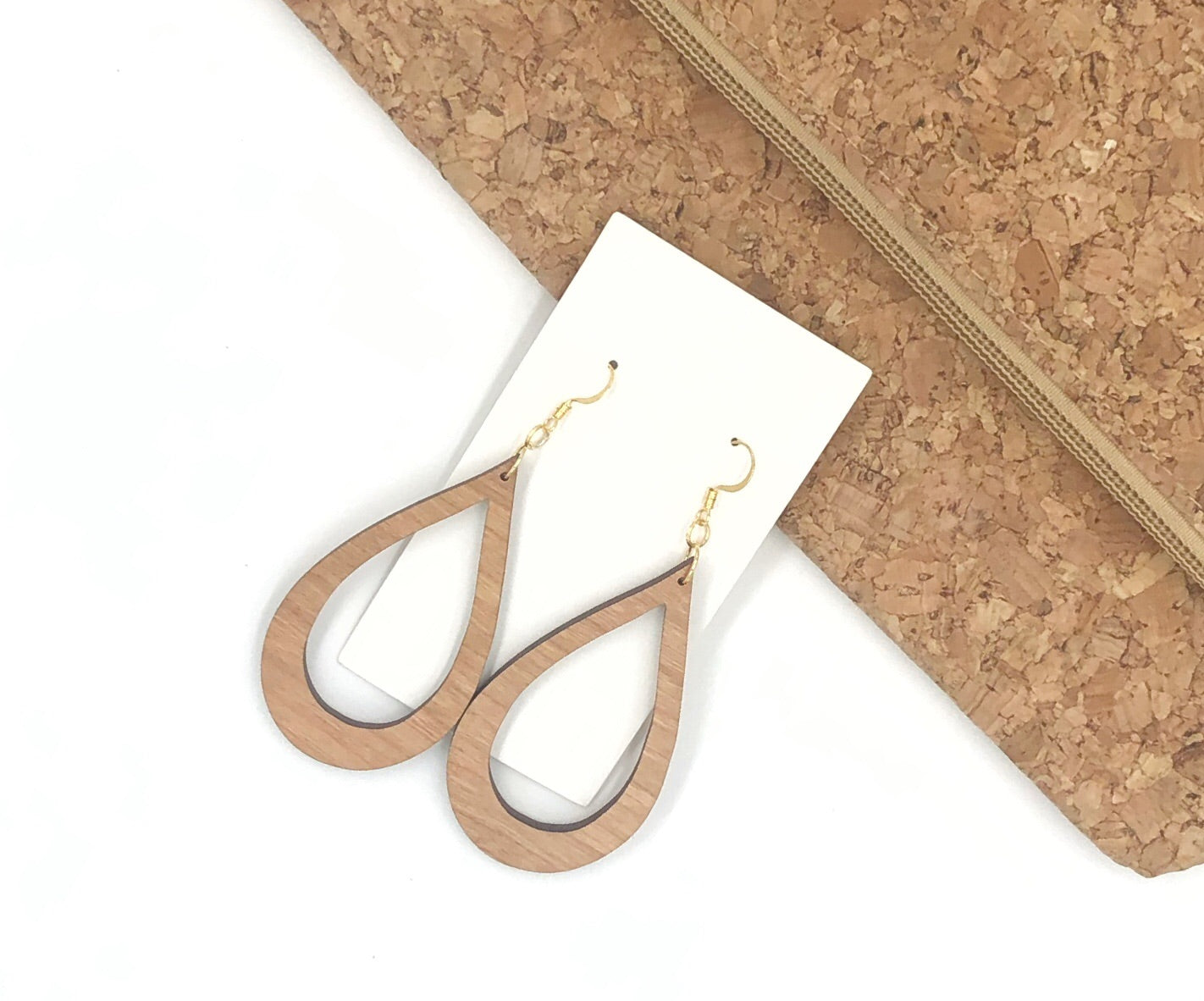 Wood Cutout Teardrop Earrings