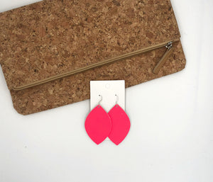 Neon Pink Leaf Leather Earrings
