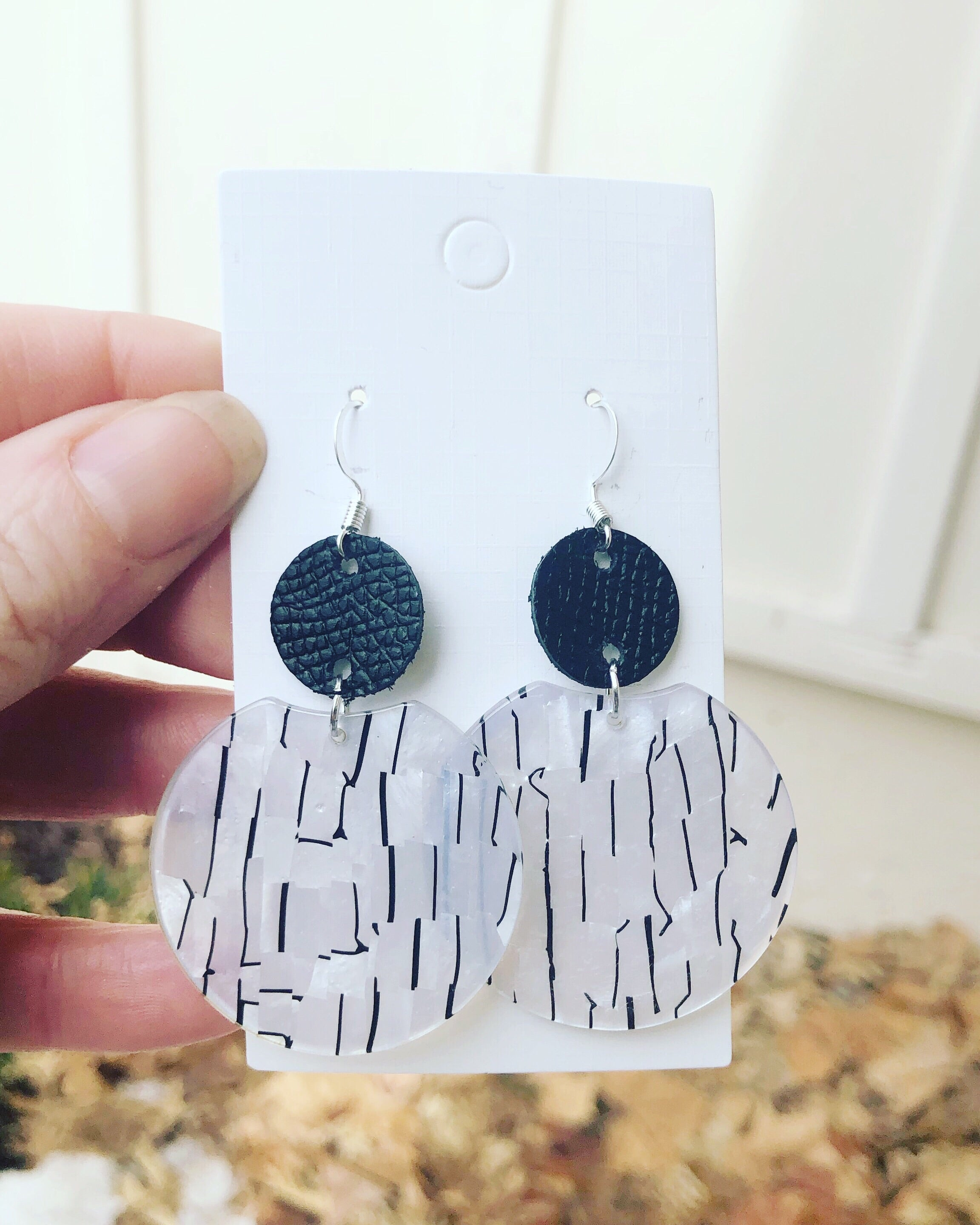 Black and White Crescent Leather and Acrylic Earrings