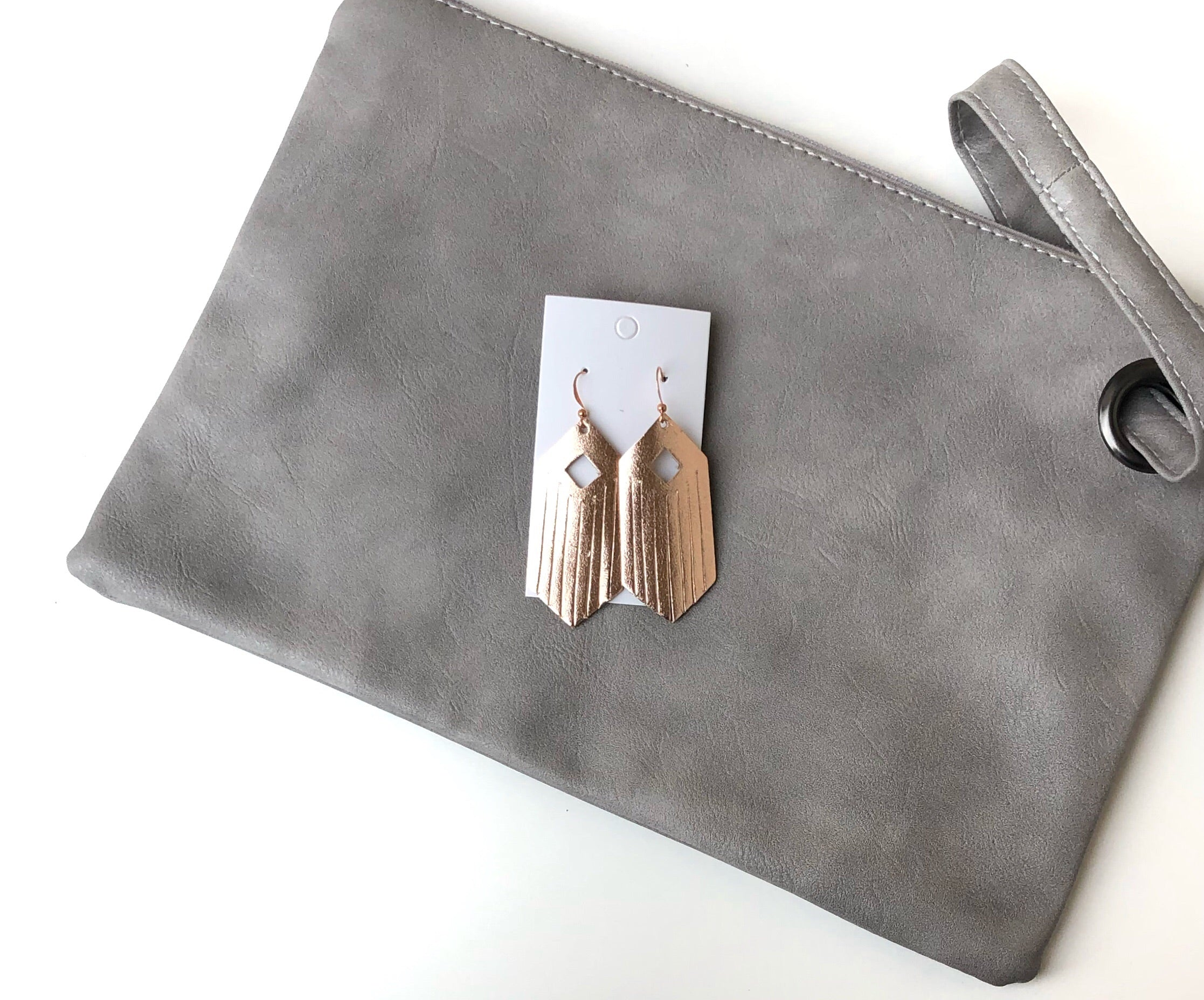 Rose Gold Diamond Fringe Leather Earrings