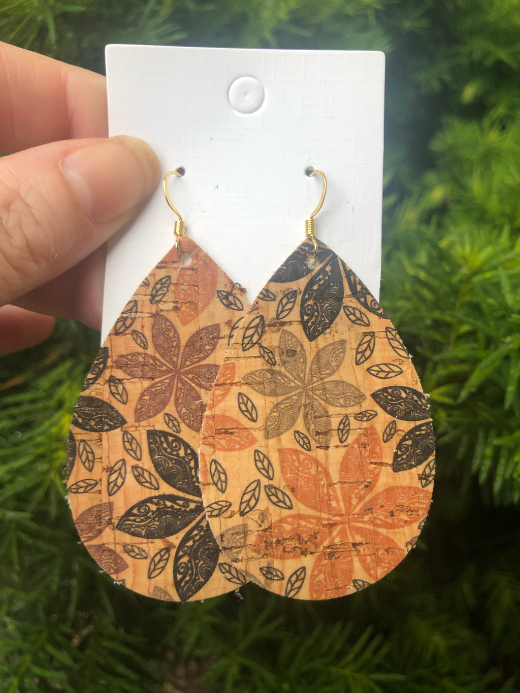 Fall Leaves Cork Teardrop