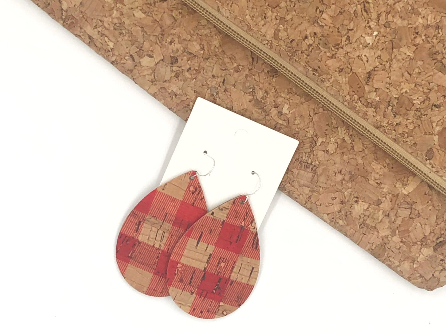 Red Buffalo Plaid Cork Bonded to Leather Teardrop