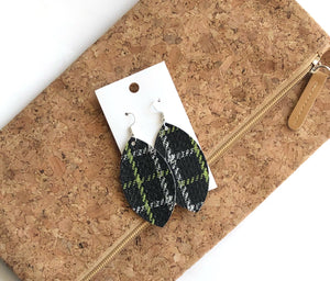 Black and Green Plaid Faux Leather Marquis Earrings