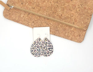 Cool Cat Leopard Cork Bonded with Leather Teardrop