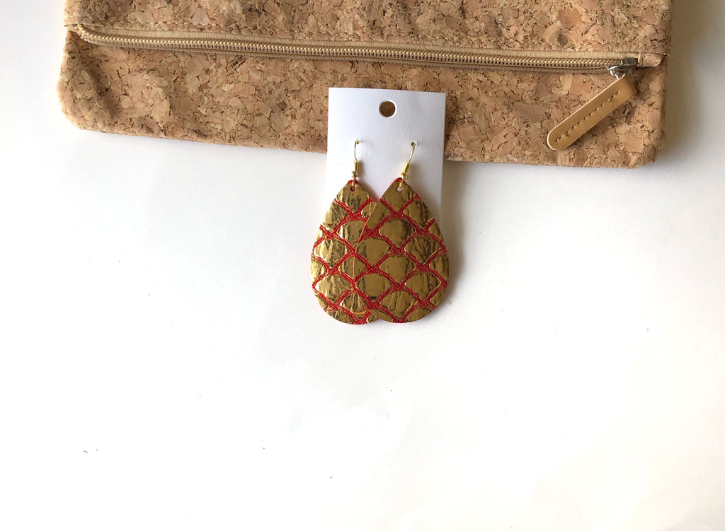 Gold and Red Mermaid Leather Teardrop