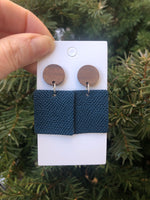 Indigo Block Drop Earrings- Hook or Wood Post