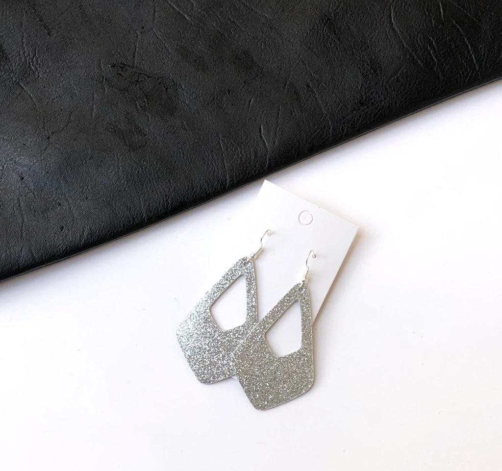 Silver Glitter Royale Cutout Earrings