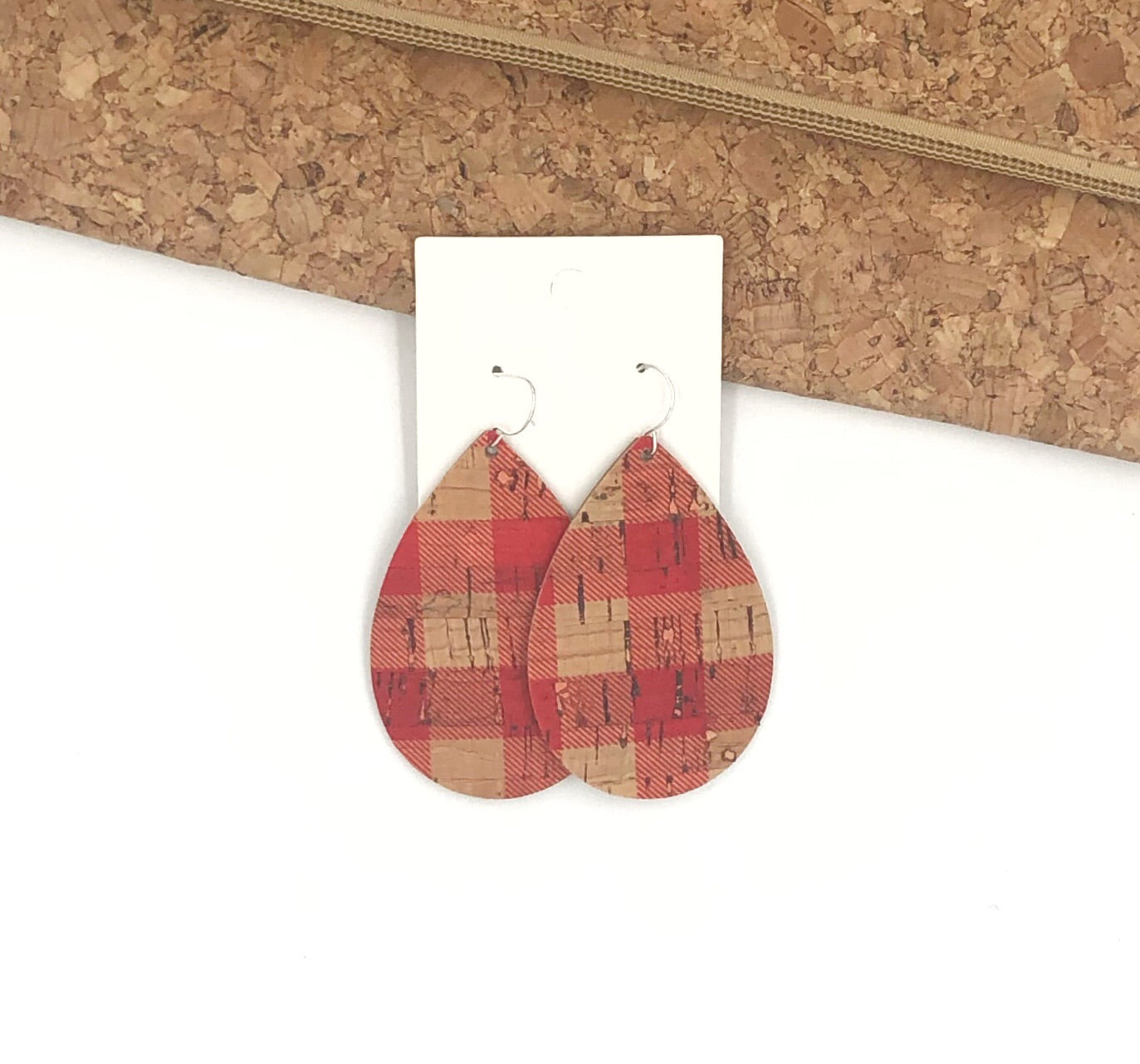 Red Buffalo Plaid Cork Bonded to Leathet Teardrop