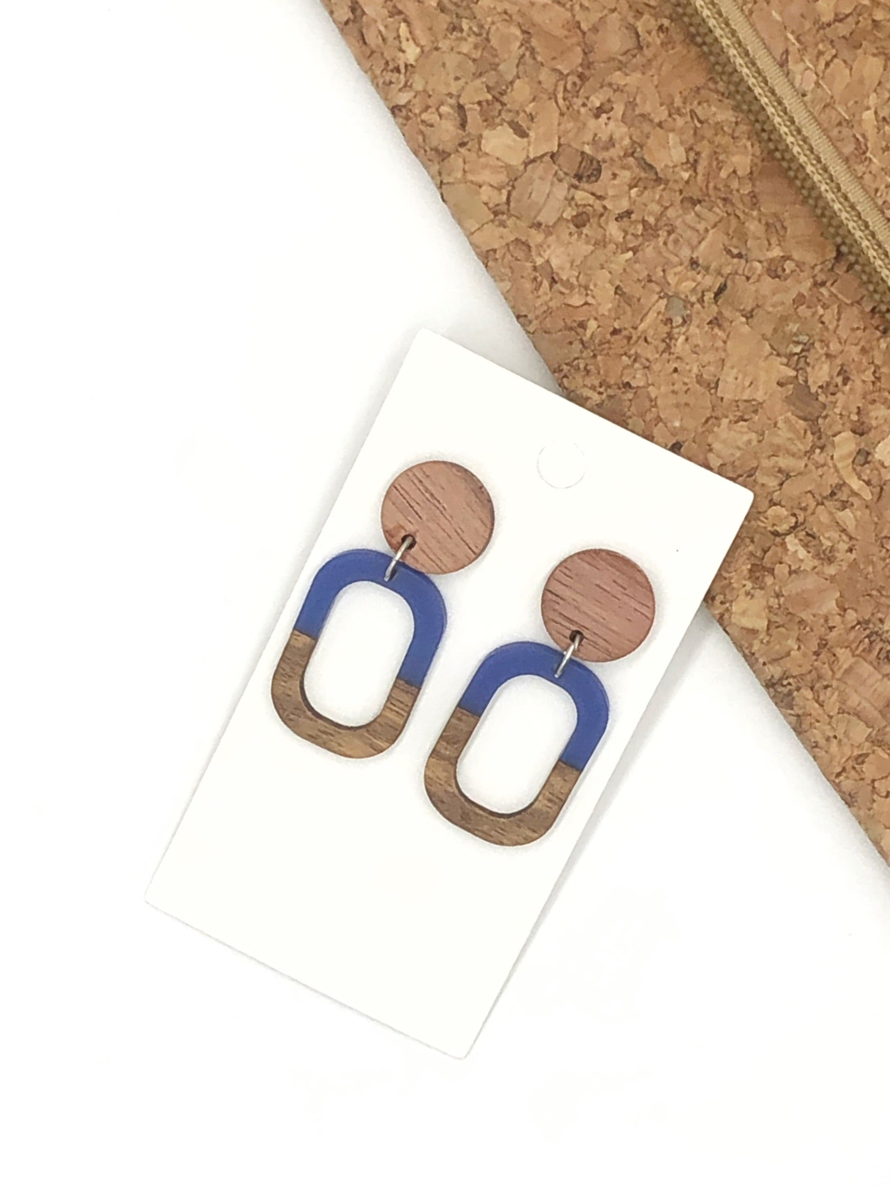 Blue Wood and Acrylic Rectangle Earrings