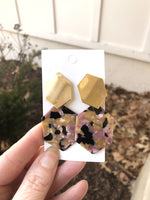 Gold Pink Multicolor Acrylic Hexagon Earrings