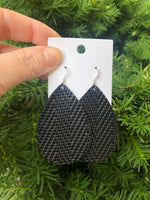 Black Chevron Leather Teardrop Drop Earrings