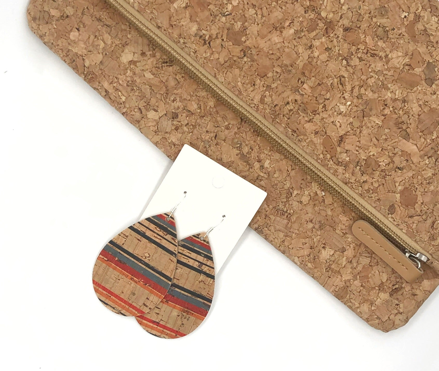 Striped Natural Corkleather Bonded with Leather Teardrop