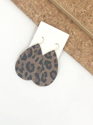 Leopard Animal Print Cheetah Brown Suede Leather Teardrop Drop Earrings