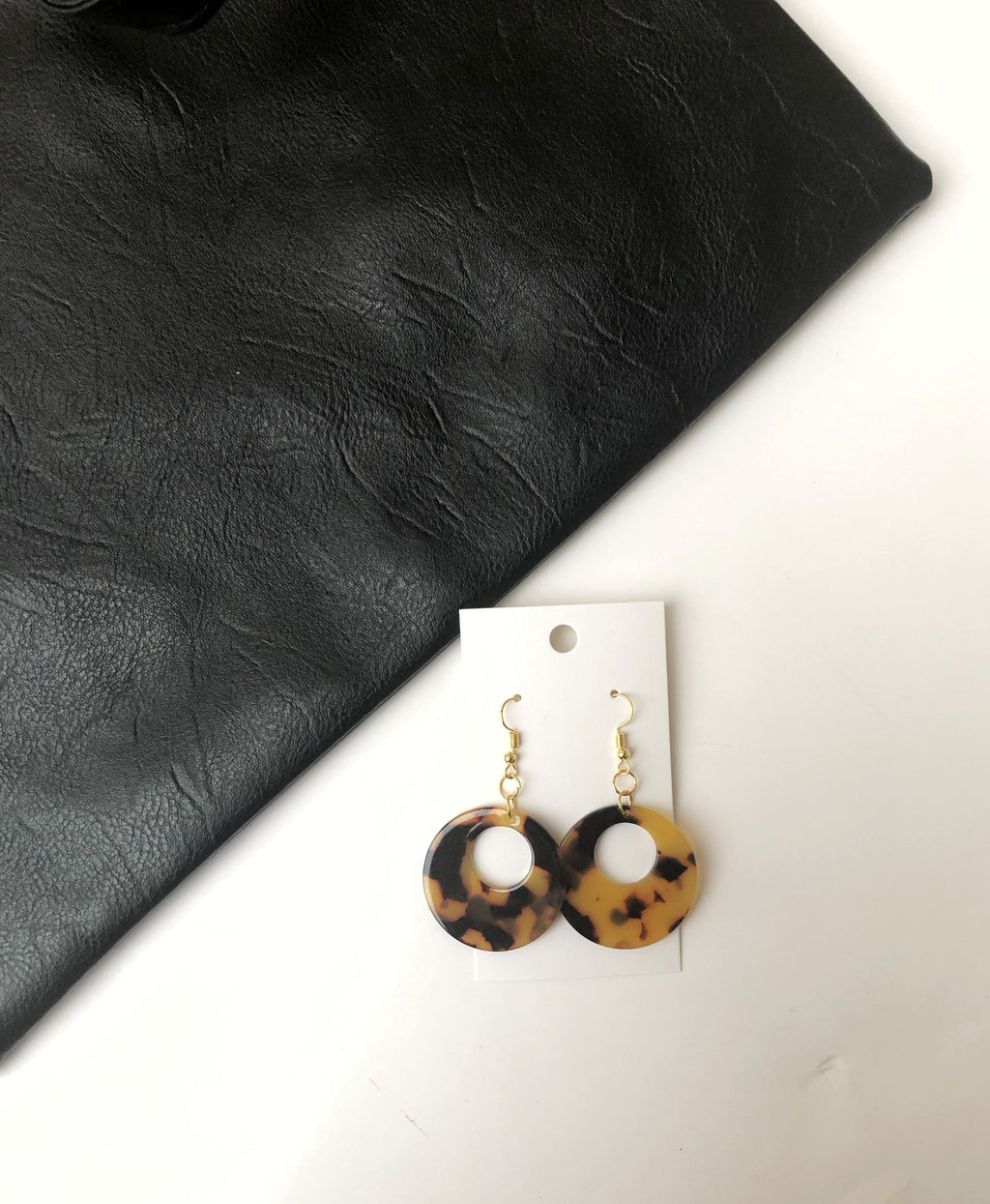 Tortoise Acrylic Cutout Circle Earrings