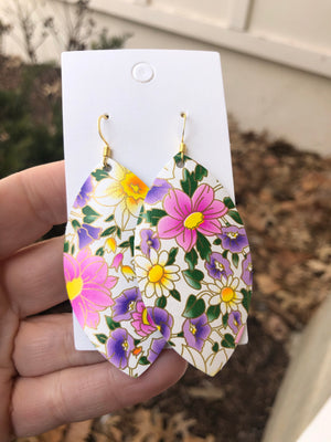 Spring Floral Leather Marquis Earrings