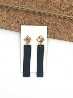 Mustard and Black Stick Leather and Acrylic Earrings