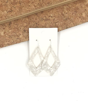 Ivory Diamond Acrylic Earrings