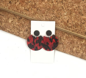 Red and Black Crescent Acrylic Earrings