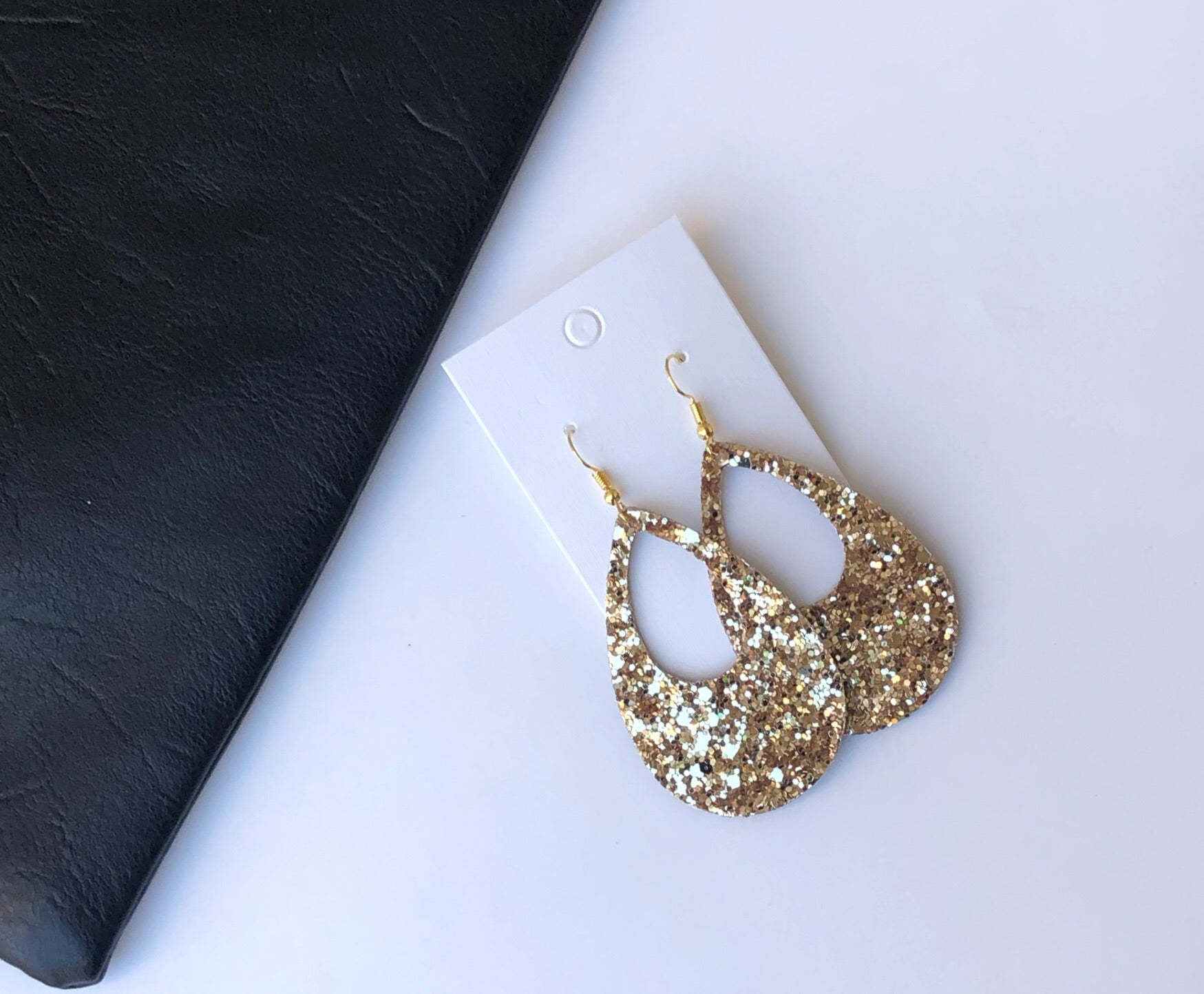 Gold Glitter Cutout Teardrops