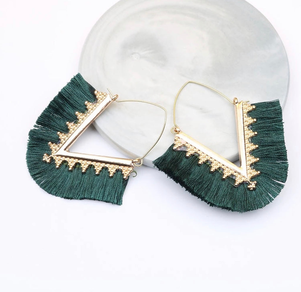 Emerald Diamond Fringe Earrings