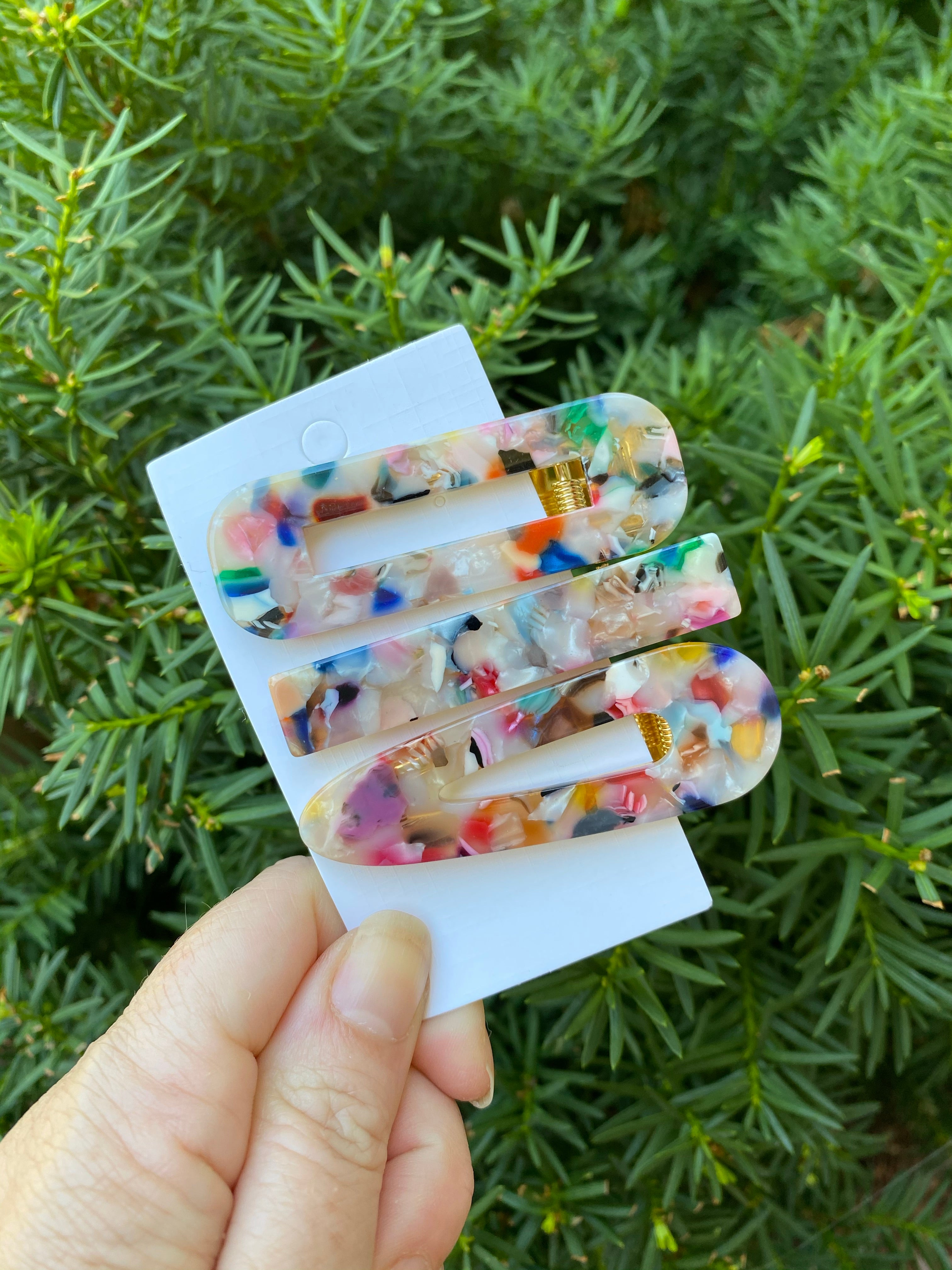Multicolor Acrylic Hair Clip Set of 3