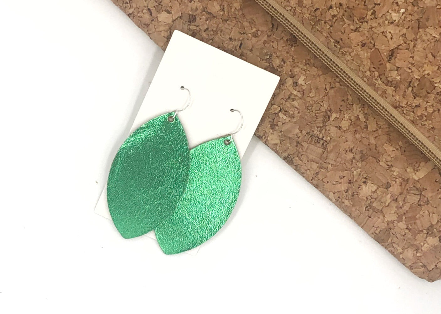 Emerald Green Shiny Marquis Leather Earrings