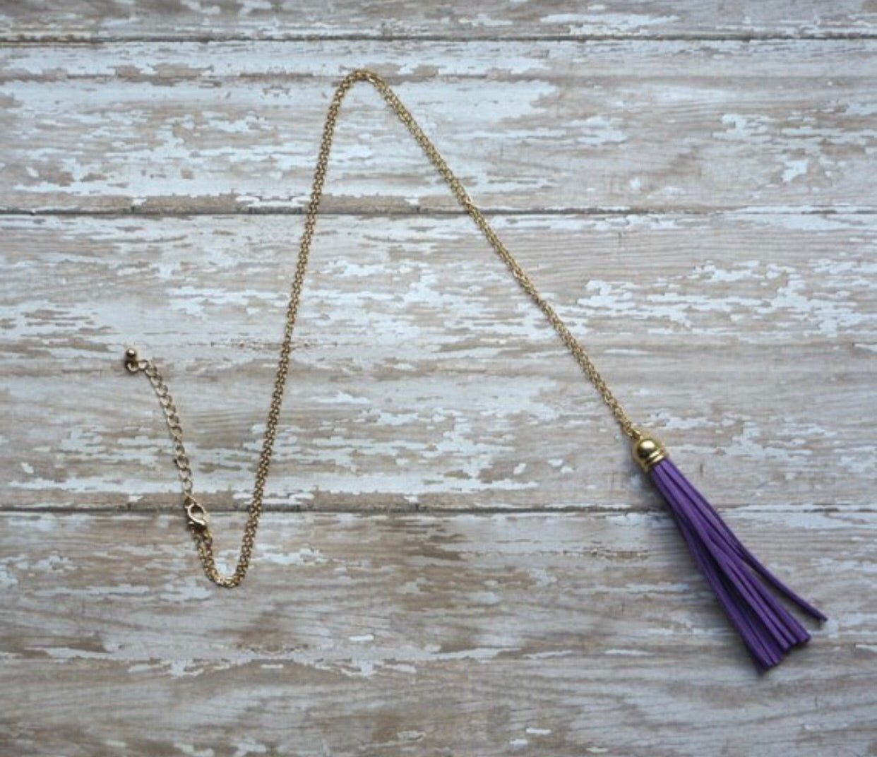 Purple Gold Tassel Necklace