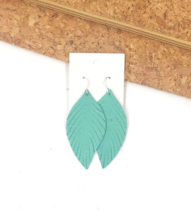 Seafoam Green Suede Leaf Fringe Earrings