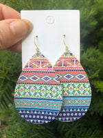 Aztec Faux Leather Teardrop Earrings
